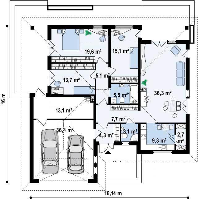 Casa prefabricadas jerez desde 171 9 m for Planos de chalets modernos